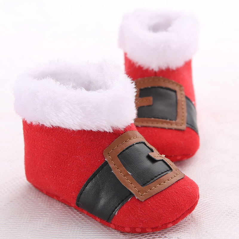 Newest X'mas Red Santa Claus Infant Booties Baby Shoes Girls Boy Warm Boots First Walker Shoes Winter Shoes Baby Christmas Boots