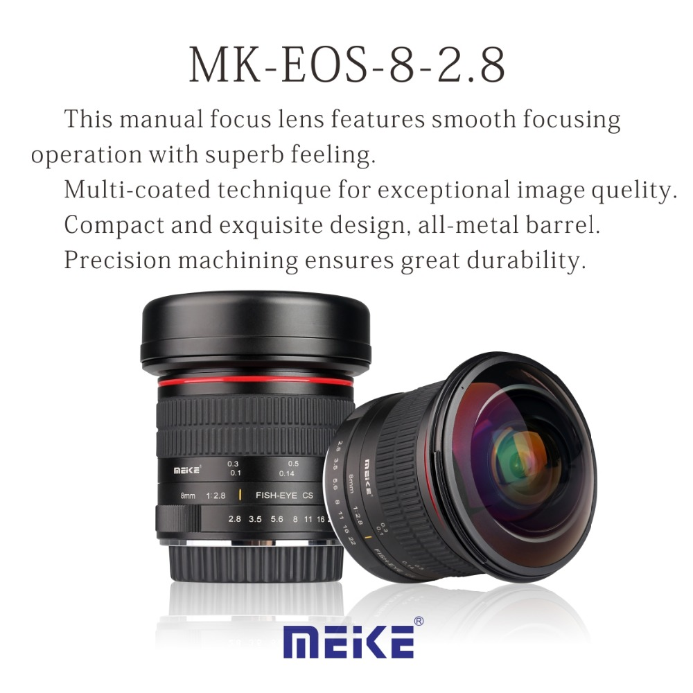MEKE MK-EF-8-3.5 8mm f/3.5 Fisheye Lens for Canon DSLR Cameras with APS-C/Full Frame qhy5l ii c imager guider cameras with free a 8mm cctv lens