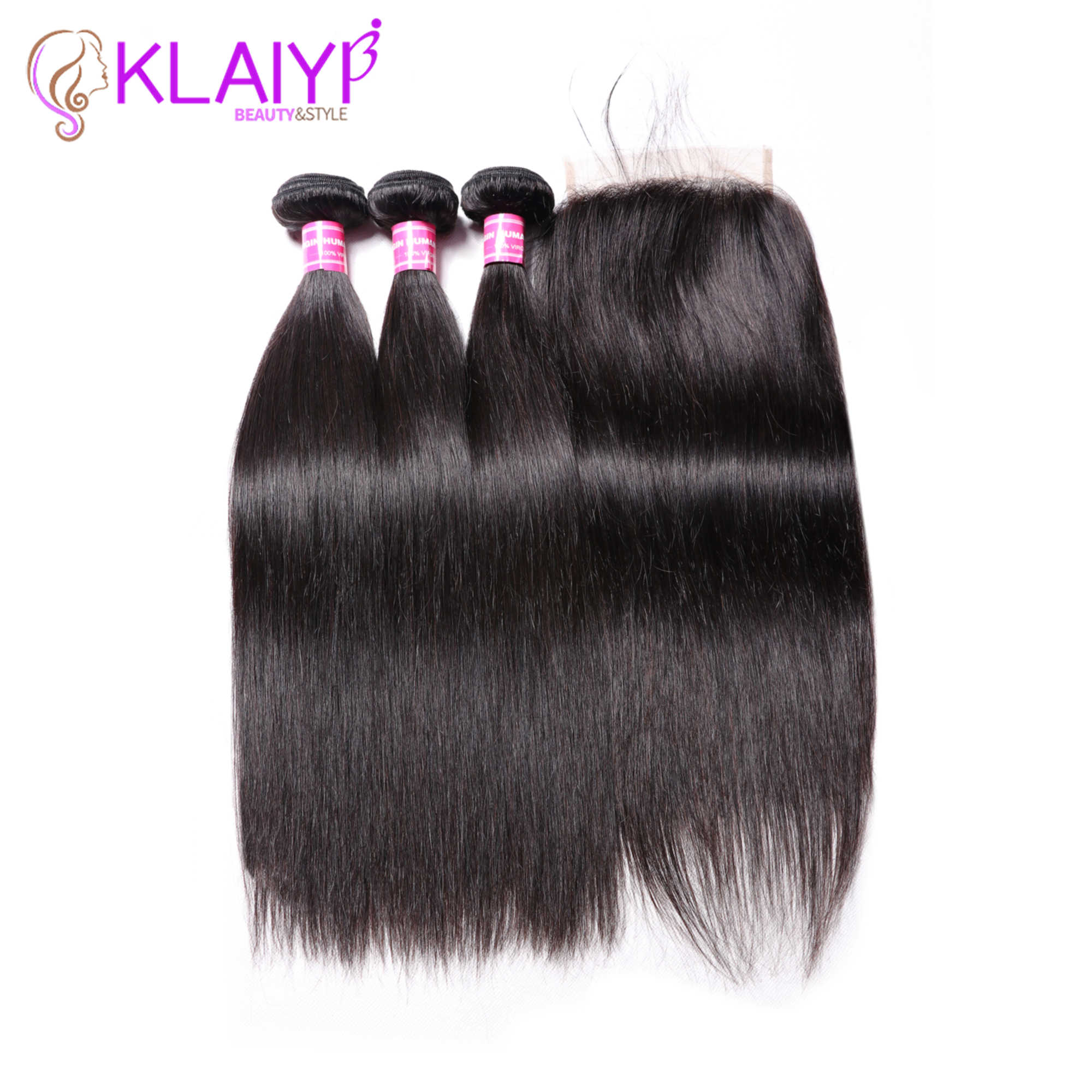 KLAIYI Hair Brazilian Straight Hair Bundles With 5*5 Lace Closure 100% Human Hair With Closure Remy Hair Weaves