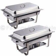 Goplus 2 Pack of 8 Quart Rectangular Chafing Dish Stainless Steel Full Size New  KC39383