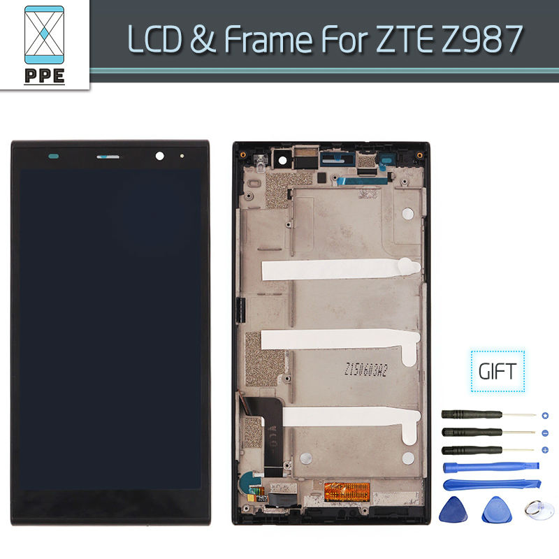 ФОТО Original LCD For ZTE Grand X Max+ Z987 LCD Display Assembly Touch screen Digitizer Replacement with Frame Free Shipping+Tools