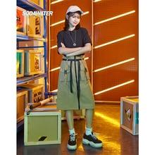 SODAWATER Girl Harajuku Skirt Midi Women Pocket Stitching A-line Zipper Long Skirts For Casual Cotton Ladies 9427SG