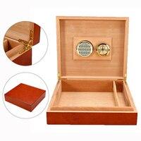 Wood Cigar Humidor Humidifier Wooden Brown Cedar Lined Cigar Humidor With Hygrometer Box Case Moisture Meter Moisturizing Device