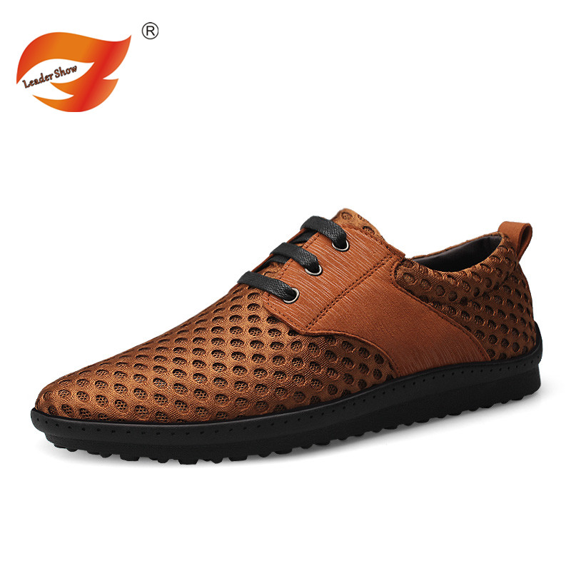ФОТО Leader Show Mens Summer Slip On Leather Mesh Patchwork Driving Shoes Men's Breathable Flats Casual Shoes Loafers Black Brown
