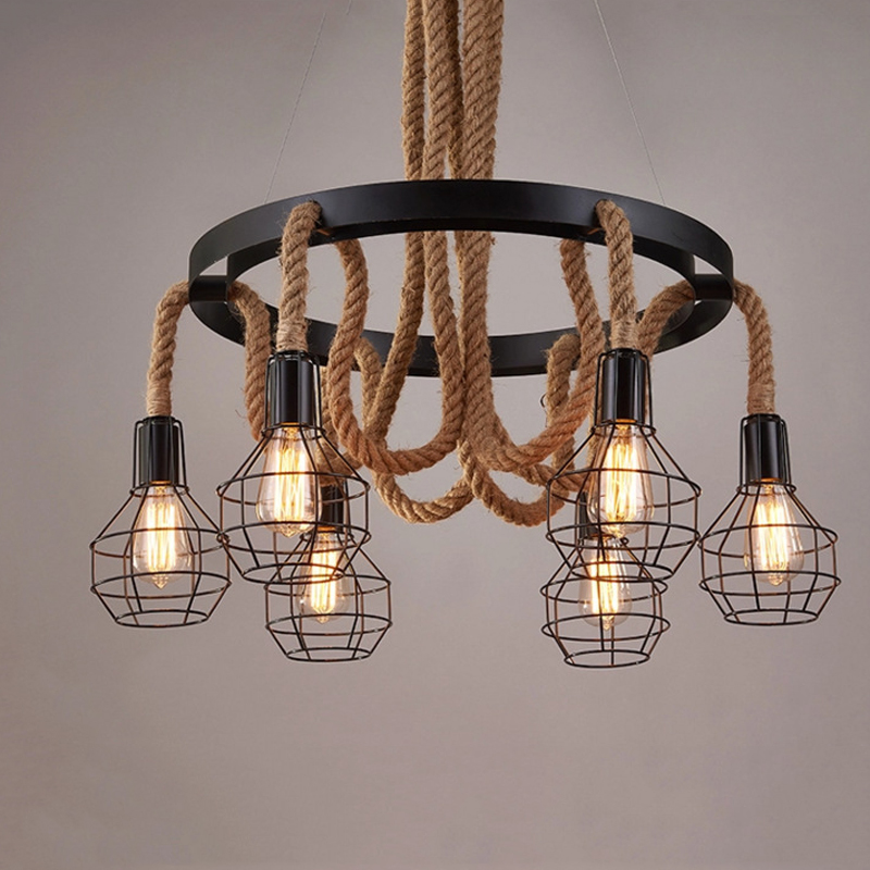 loft vintage retro lamps cage hemp rope lights bar pub club cafe restaurant living room balcony stair aisle pendant lamp кольца silver wings 010001 218 71