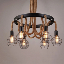 loft vintage retro lamps cage hemp rope lights bar pub club cafe restaurant living room balcony stair aisle pendant lamp 1pc iron glass pendant lights retro living room restaurant corridor balcony garden personality pendant lamps za