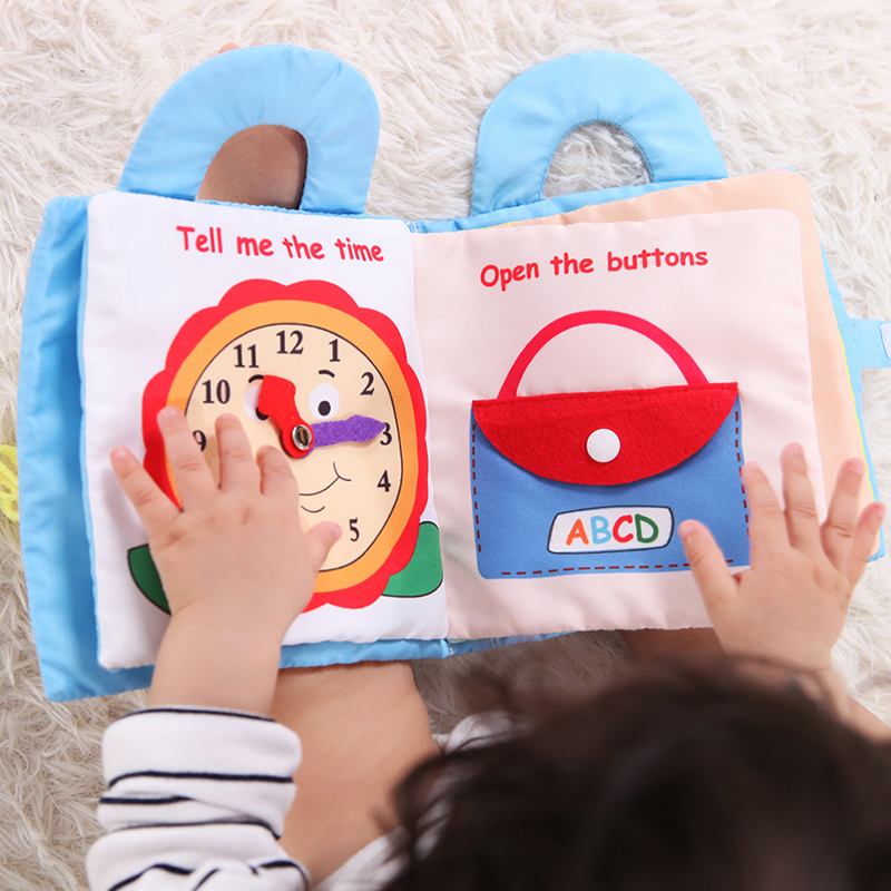 Infant Cloth Book Cartoon Pattern Baby Soft Activity Crinkle Cloth Books Educational Learning Toys