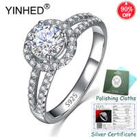Sent Silver Certificate! YINHED Luxury 8mm 5A Cubic Zircon Wedding Rings for Women 925 Sterling Silver Fine Jewelry Gift ZR559