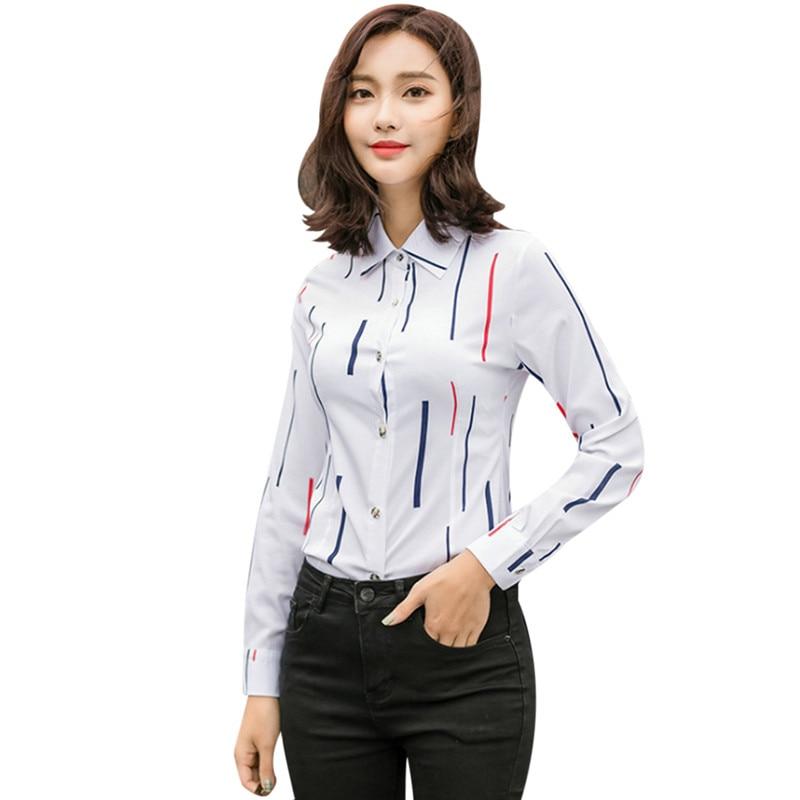 Elegant Striped Ladies Office Shirt Long Sleeve Slim Chiffon Blouse Femme 2018 Women Tunic Tops Korean Fashion Cardigan Blusas