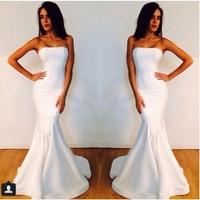 2018 Strapless robe de soiree White Mermaid Michael Costello Prom party bridal gown vestido de noiva simple bridesmaid dresses