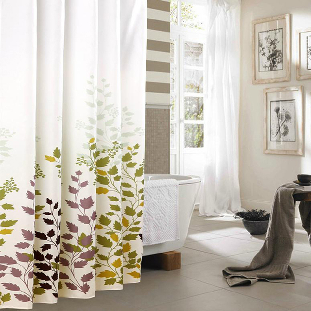 Water Resistant Fabric Shower Curtains Maple Leaf Bathroom Decorative Curtain