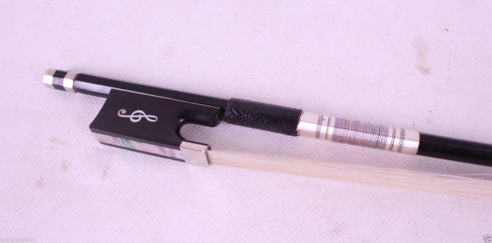 1pcs Black Carbon fiber 4/4 violin Bow Straight Musical notes inlay #R86