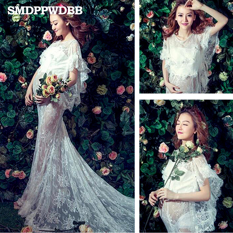 SMDPPWDBB Maternity Photography Props Maternity Dresses Lace White Women Dress Pregnancy Clothes Maternity Maxi Gown Plus Size