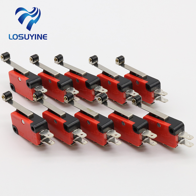 IMC Hot 10 Pcs Micro Limit Switch Long Hinge Roller Lever Arm Snap Action LOT 5pcs safety micro limit switch v 15 1c25 roller lever snap action 250v 16a s08 drop ship