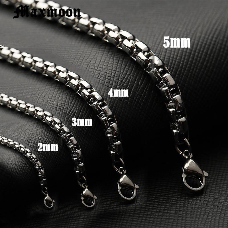 Maxmoon men Stainless Steel bracelet 2/3/4/5mm Square Rolo chain Bracelet bangle women