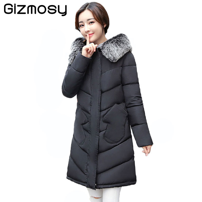 Winter Jacket Women Plus Size Parka Fur Collar Hooded Jackets Female Thicken Winter Coat Long Cotton-Padded Warm Outwear BN1632 quilted jacket male mid long parka new winter thicken warm hooded fur collar cotton padded coat men s snow jackets windproof