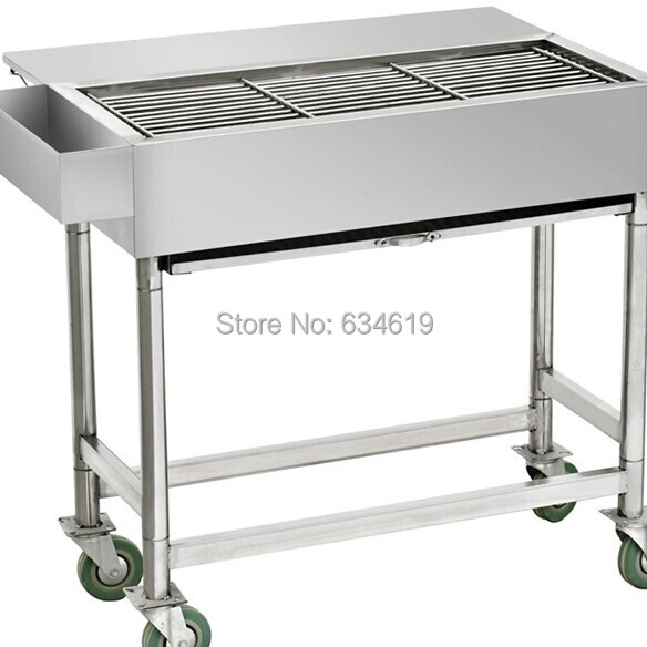 Stainless Steel Charcoal Bbq Cart With Rolling Wheel Movable Grille Wheeled Barbecue