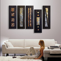 Hand Painted Abstract Black Oil Painting On Canvas Lienzos Cuadros Decorativos Peinture 5 Panel Pictures Wall