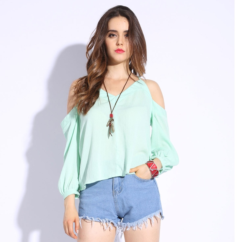 369dcbd2d98 Off Shoulder Women Blouses Slash Neck Long Sleeve Sexy Shirt Ladies Tops  Fashion Loose Green White Blouse For Women Clothes -in Blouses & Shirts  from ...