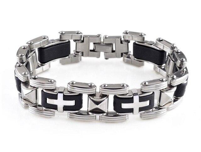 Fine Jewelry Mens Stainless Steel & Black Rubber Chain Bracelet WibjV