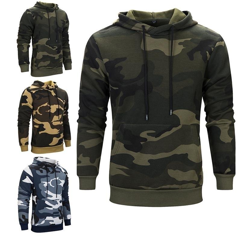 Men Camoflage Hoodie Hooded Sweatshirt Military Camo Pullover 2018 Fashion Thick Hoodies Slim Fit Fleece Sportswear Hoody Male