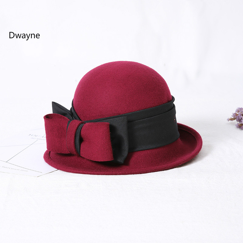 Women Winter Hat 2017 Wool Felt Bucket Hat Ladies Fashion Pure Wool Floppy  Cloche Black Red Khaki Autumn Wool Bowknot Women Hats-in Fedoras from  Women s ... b9b6cd5a1ed1