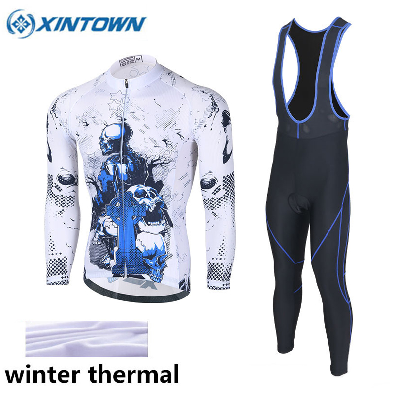 2017 New Design Skeleton Winter Fleece Cycling Jersey Long Sleeve Set Men Women Silicone Cushion Pants Culotes Ciclismo Jersey paladinsport men s skull pattern long sleeved cycling jersey pants set black red size xl