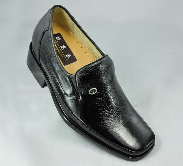2012 -  Black waterproof leather height increasing wedding shoes make you be 2.75 inches taller