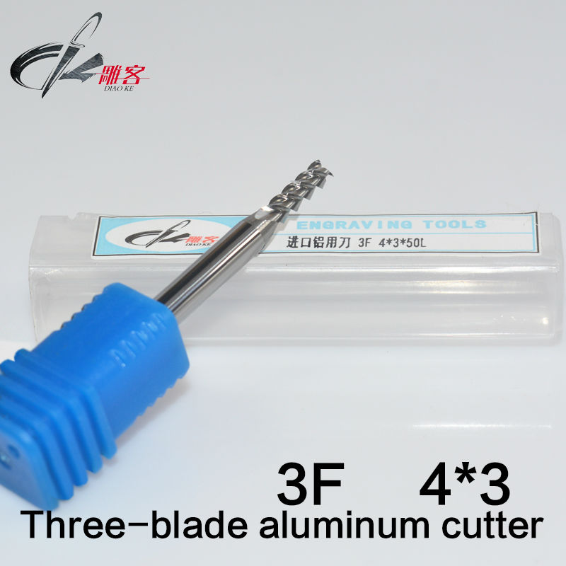 5pcs Drill CNC 3 Three 3f Flute Spiral Router Endmill Bit cutter milling tool Metal Aluminum Copper HRC55 4*3*50MM  цены