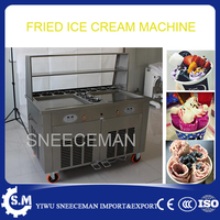 110v 220v Thailand Fried Ice Cream Machine Snack Machine Ice Cream Cold Plate Double Pan Fried ice cream roll machine