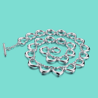 Sweet 925 Sterling Silver Necklace Women S Heart Shaped Necklace Fashion Charm Jewelry Girl S Clavicle