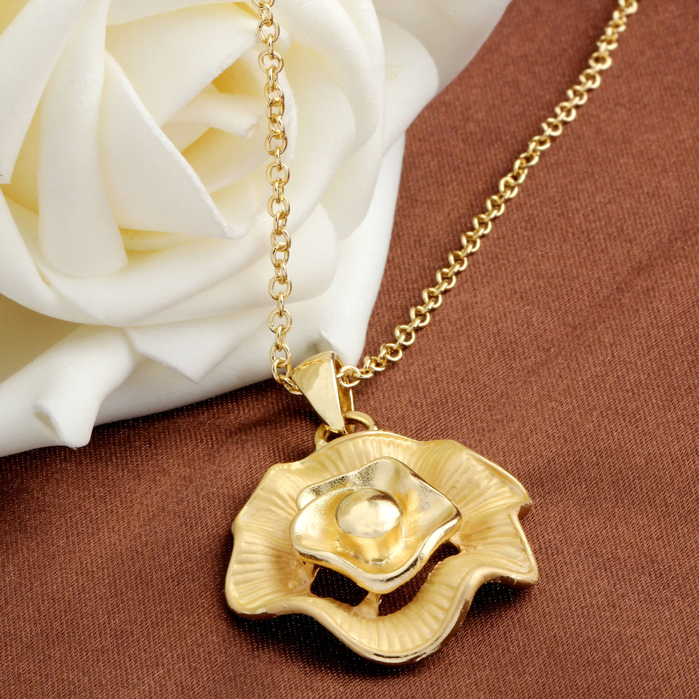New Pendant necklace women bijoux colier femme flower gold ...