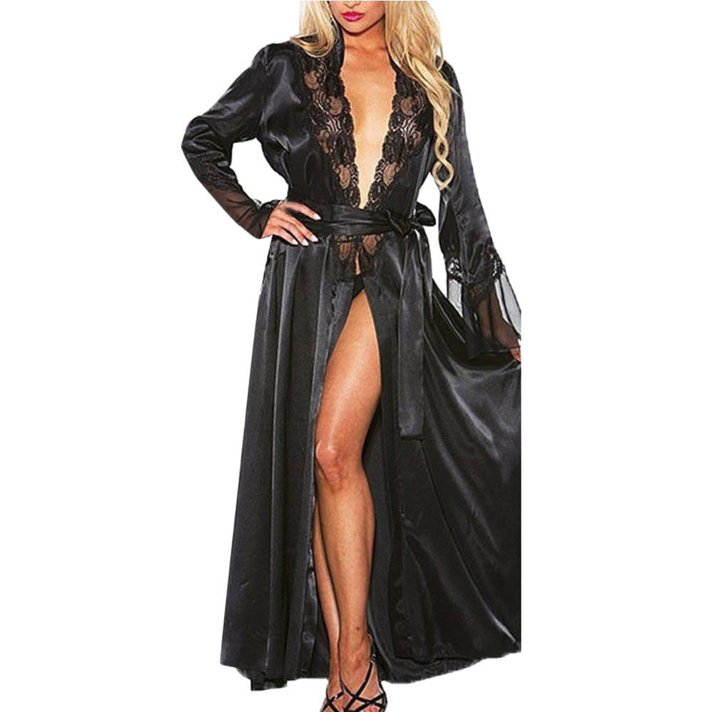 Sleepwear Lingerie Dressing-Gown Babydoll Bath-Robe Lace Kimono Sexy Women