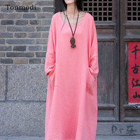 Nightgowns For Women Retro gown Long sleeve Cotton Linen Nightdress Loose Sleepwear Womens sleep nightshirt