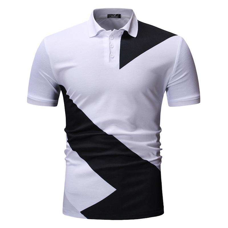 Men   Polo   Shirt Men's Clothing Casual Tops Tees Summer   POLO   Shirts Mens Casual Fashion Black White