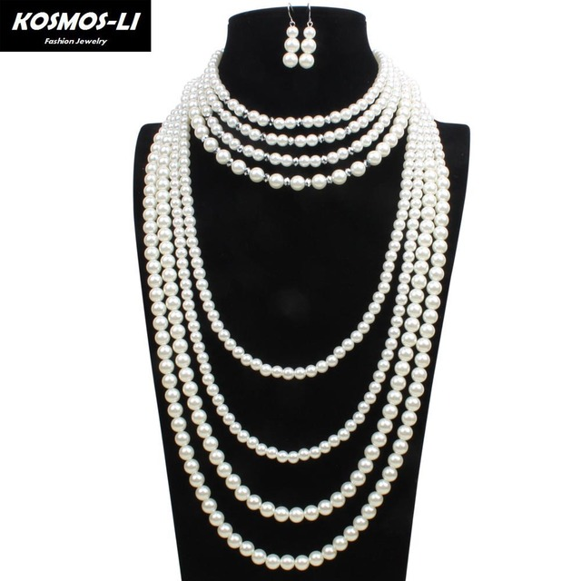 8 Layer Pearl Strand Necklace New Fashion Plastic Imitate Pearl Beads Maxi Necklace For Women Party Jewelry 6580
