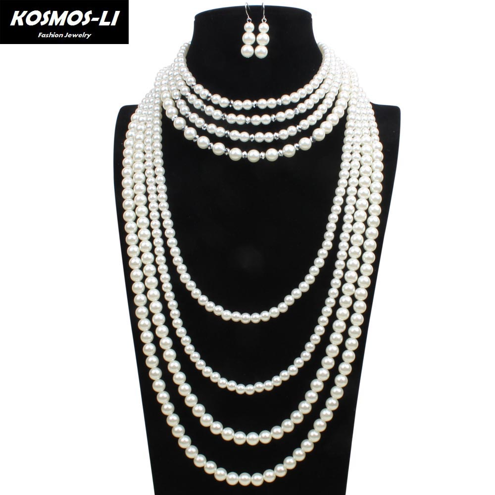 8 Layer Pearl Strand Necklace New Fashion Plastic