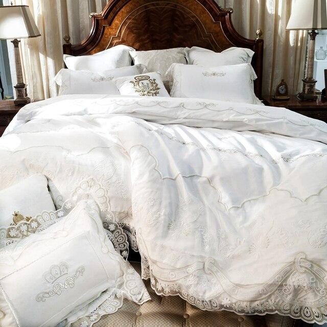 Cream White 100% Egyptian Cotton Bedding Set,lace Duvet Cover Satin Bed  Sheet Bedding