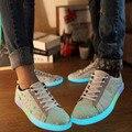 Fluorescente Zapatos de 2017 Nueva Luz de la Llegada Para Adultos Unisex Hombres de Cuero de moda Plana Con Cordones de los Zapatos Brillan En La Oscuridad tamaño 36-44