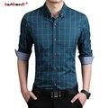 GustOmerD Alta Qualidade Algodão Camisa Xadrez Camisa Men Casual Slim Fit Camisa Dos Homens de Manga Longa Camisas Sociais Masculina Camisa do Negócio Dos Homens