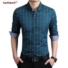 GustOmerD High Quality Cotton Plaid Shirt Men Casual Slim Fit Men Shirt Long Sleeve Social Male Shirts Business Shirt Men