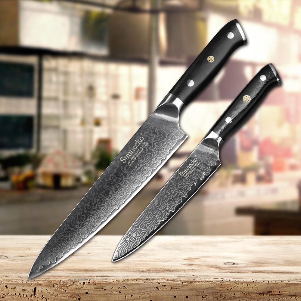 Ev ve Bahçe'ten Bıçak Setleri'de SUNNECKO 2 ADET Mutfak Bıçağı Seti Japon Şam VG10 Çelik Keskin 5 ''Programı 8'' Şef Bıçak mutfak bıçağı G10 kolu Araçları'da  Grup 1