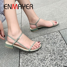 ENMAYER 2019 New Arrival Women Summer Low Heel Sandals Basic Casual  Buckle Strap  Shoes Woman  Solid  Fashion Size 34-39 LY2355 enmayer 2019 basic low heel women pumps 3 colors solid women fashion mary jane shoes spring autumn size 34 43 ly1931 page 10 page 7