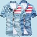 2016 Summer New Arrived Star Printed Short Denim Shirt Man Slim Fit Camisa Masculina Hawaiian Stylish Flag Printed Shirt