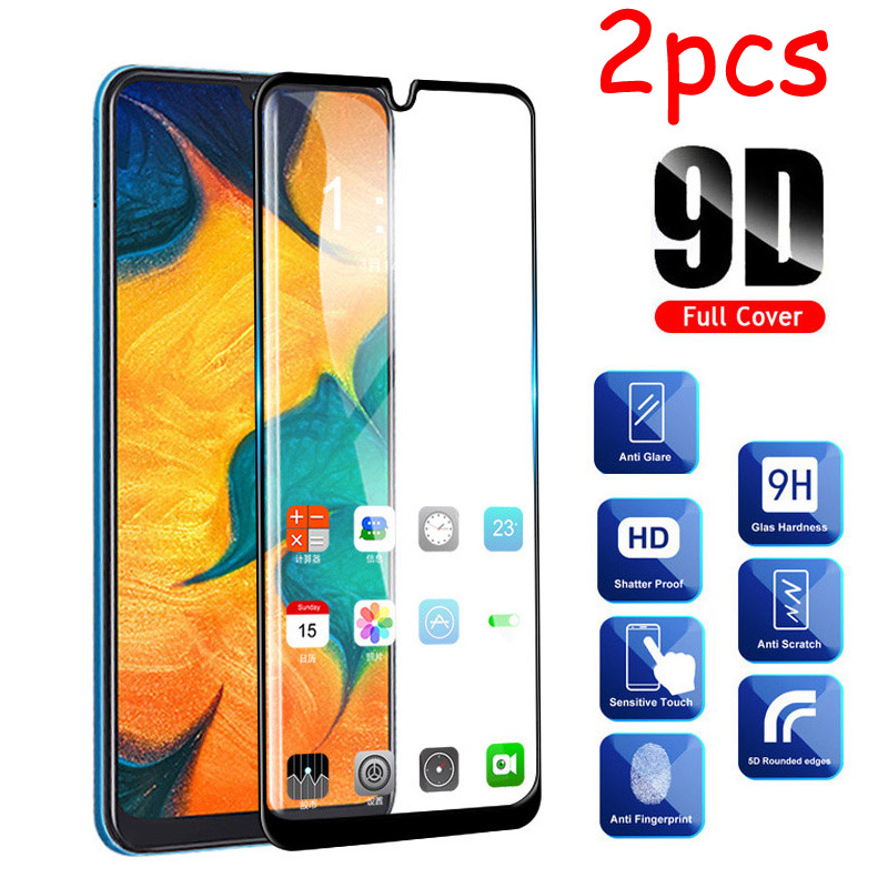 2 Pcs/lot Full Glue Samsun A50 Glass For Samsung Galaxy A70 A40 A30 A50 Protective Glass On The Galax A 50 30 40 70 50A 70A Film