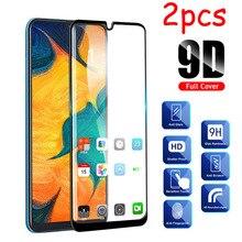 Samsung galaxy a70 a40 a30 a50 2 pçs/lote vidro de proteção, com cola completa, vidro de proteção película 70a 50 30 40 70 50a