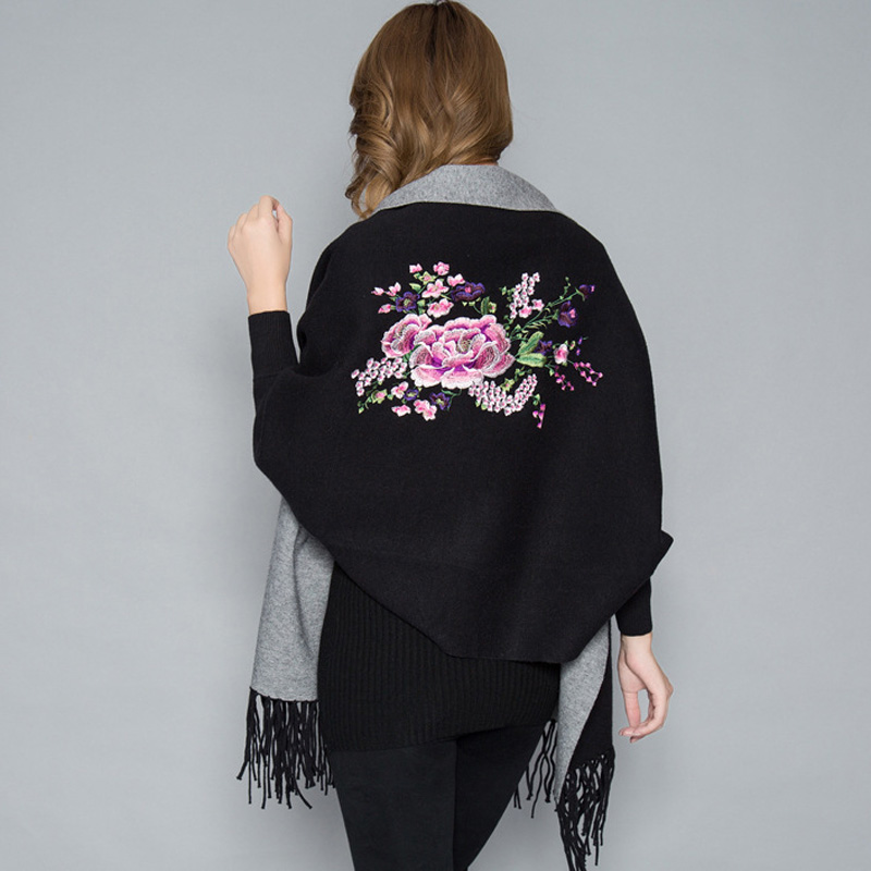 Image 3 - Oversize Double Color Double Use Women Winter Fashion Cashmere Embroidery Flower Embroider Poncho Scarf with Sleeve Tassels-in Women's Scarves from Apparel Accessories
