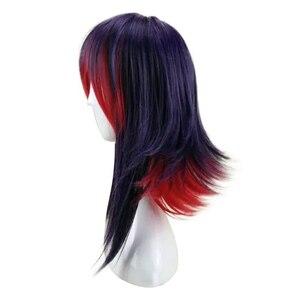 Image 2 - HAIRJOY 합성 머리 보라색 블루 혼합 레드 코스프레 가발 스트레이트 Ombre 의상 가발 2 색상을 사용할 수