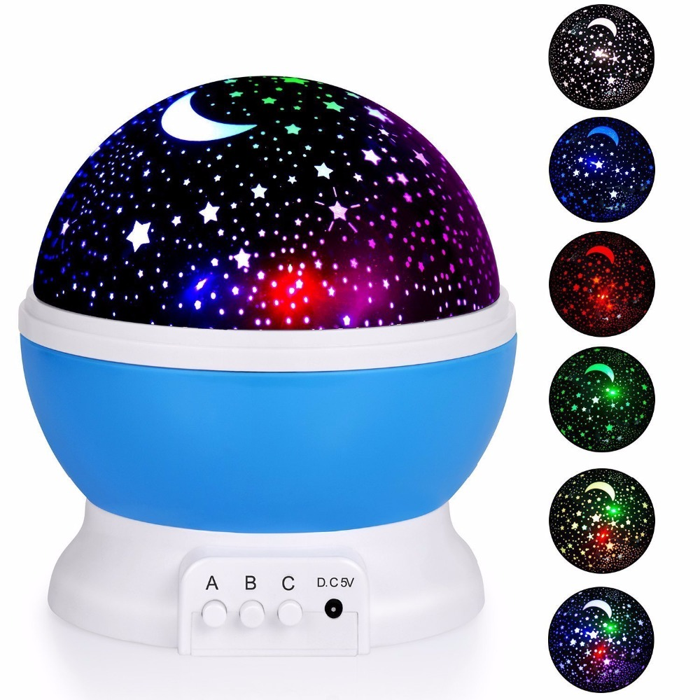 Romantic Rotating Star Moon Sky Rotation Night Projector Novelty Starry Star USB Night Light Lamp Projection For Kids Bed Lamp