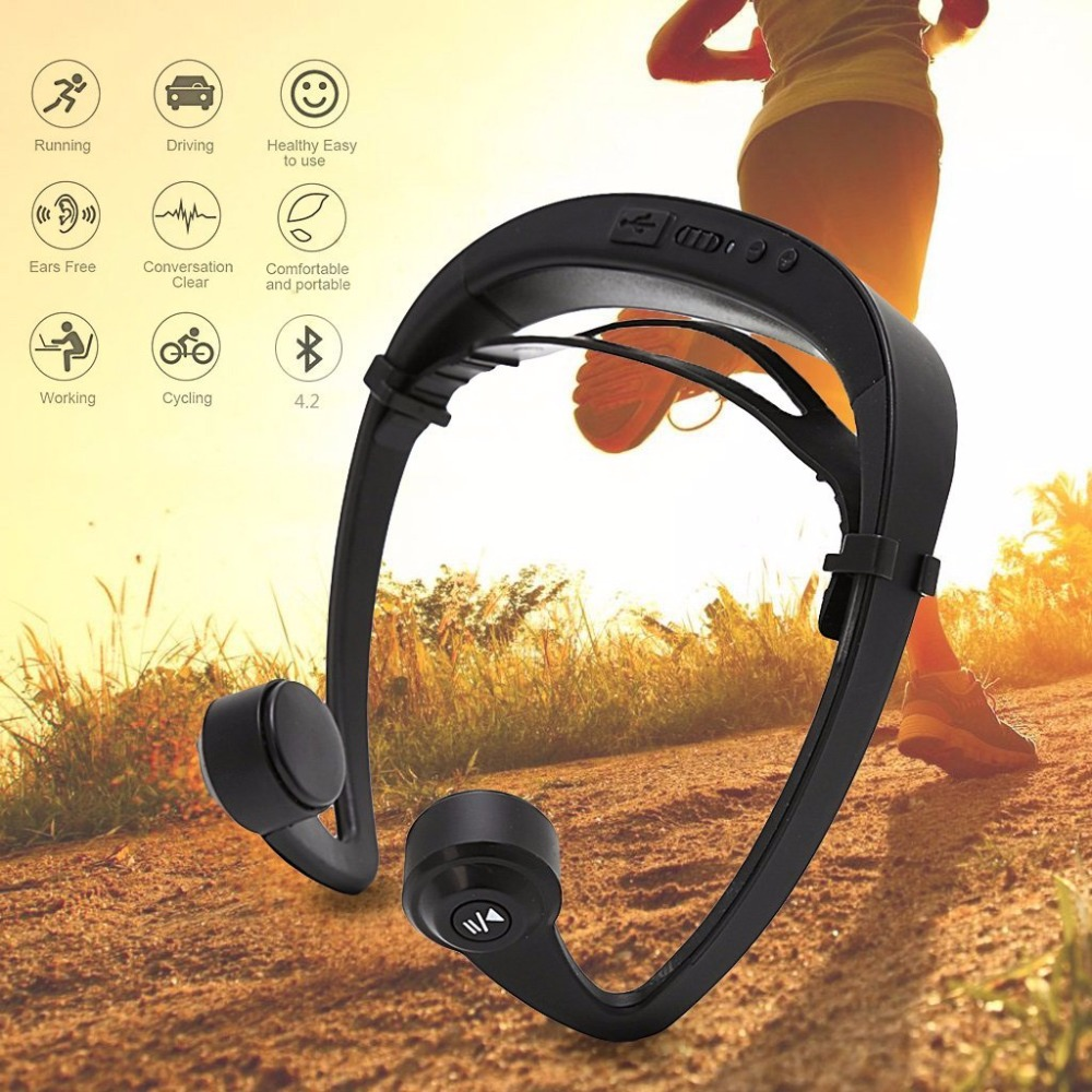 Bluetooth Bone Conduction Earphone Headset Sports Headphone Wireless Outdoor Stereo with Microphone for iphone Samsung Android august epa20 bluetooth cap winter beanie hat with stereo speaker and microphone wireless headphone earphone for outdoor sports